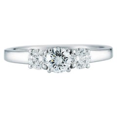 3-Stone Ring 14 Karat White Gold 1.03 Carat GIA Certified Diamond Solitaire