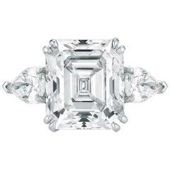 Three-Stone Emerald Cut Diamond Engagement Ring K VS1 GIA in Platinum 4.00 Carat