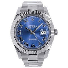 Rolex Datejust II 18 Karat White Gold Bezel Blue Roman Dial Watch 116334