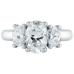 Three-Stone Oval Cut Diamond Engagement Ring in Platinum 2.00 Carat GIA