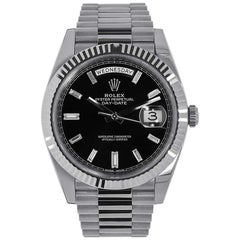 Rolex Day-Date White Gold President Black Diamond Dial Watch 228239