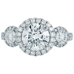 Three-Stone 3.21 Carat Diamond Halo Set Engagement Ring Platinum GIA