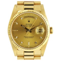 Rolex 18238 L Champagne Diamond Day Date President 18 Karat Gold Swiss Automatic