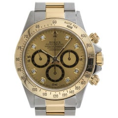 Rolex 16523 U Daytona Diamond Dial Steel 18kt Yellow Gold Automatic Chronograph