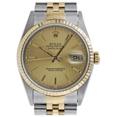 Rolex 16233 S Datejust Champagne Tapestry Stick Steel 18 Kt Yellow Gold Jubilee