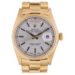 Rolex 18038 Day Date President Silver Stick Dial 18 Karat Gold Swiss Watch