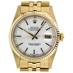 Rolex 16238 Datejust 18 Karat Yellow Gold Fluted Bezel Super Jubilee Bracelet