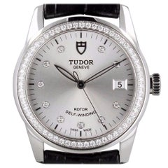 Tudor 55020 Glamour Diamond Dial Diamond Bezel on Strap J Serial w/ Box & Papers