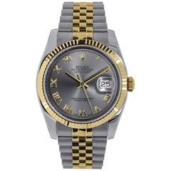 Rolex Datejust Stainless Steel and 18 Karat Yellow Gold Grey Roman Dial 116233