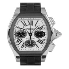 Cartier 3405 Roadster S XL Chronograph Stainless Steel Swiss Watch Rubber Strap