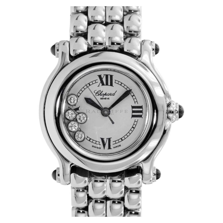 79aa918b2e1ee Chopard 8245 Happy Sport Floating Diamonds Stainless Steel Quartz Ladies  Watch at 1stdibs