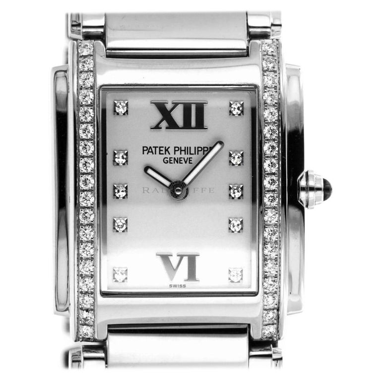 Patek Philippe 4910/10A-011 Steel Twenty-4 Diamond 24 4910 Quartz Ladies Watch For Sale
