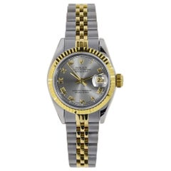 Rolex Datejust Steel and 18 Karat Yellow Gold Grey Roman Watch 79173
