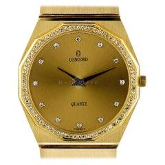 Concord Mariner 1 Karat Yellow Gold Diamond Bezel Quartz Movement Ladies Watch