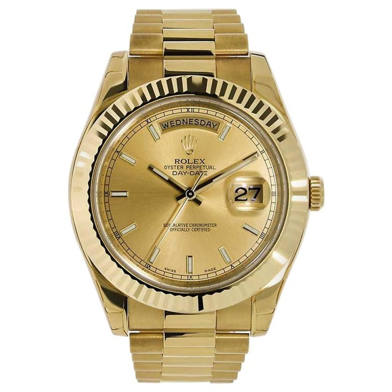 Rolex Day Date Ii 18 Karat Yellow Gold Champagne Dial Watch 218238