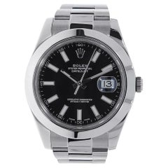 Rolex Datejust II Stainless Steel Black Index Dial Watch 116300