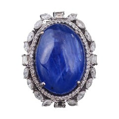 Set in 18 Karat Gold, Natural Burma Blue Sapphire and Diamonds Cocktail Ring