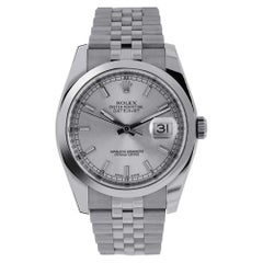 Rolex Datejust Stainless Steel Silver Index Dial Watch 116200