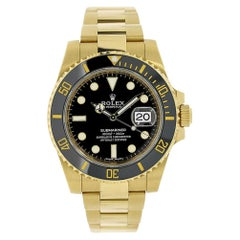 Rolex Submariner 18 Karat Yellow Gold Black Ceramic Watch 116618