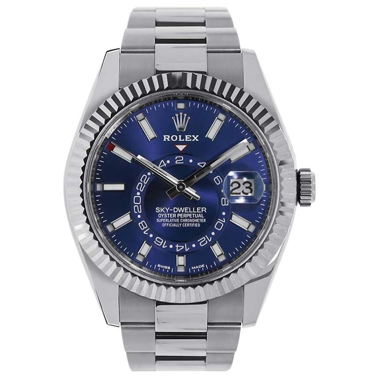 Rolex Sky-Dweller Stainless Steel Blue Dial Watch 326934 at 1stDibs
