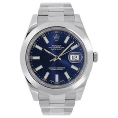 Rolex Datejust II Stainless Steel Blue Index Dial Watch 116300