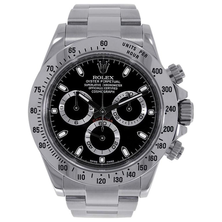 Rolex Daytona Stainless Steel Black Dial Watch 116520 For Sale At