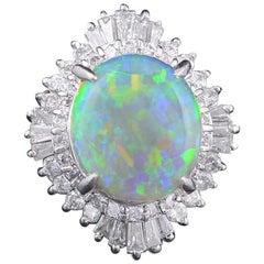 Set in Platinum 900, Australian Opal and Taper Baguette Diamonds Cocktail Ring