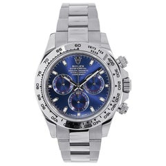 Rolex Cosmograph Daytona 18 Karat White Gold Blue Dial Watch 116509