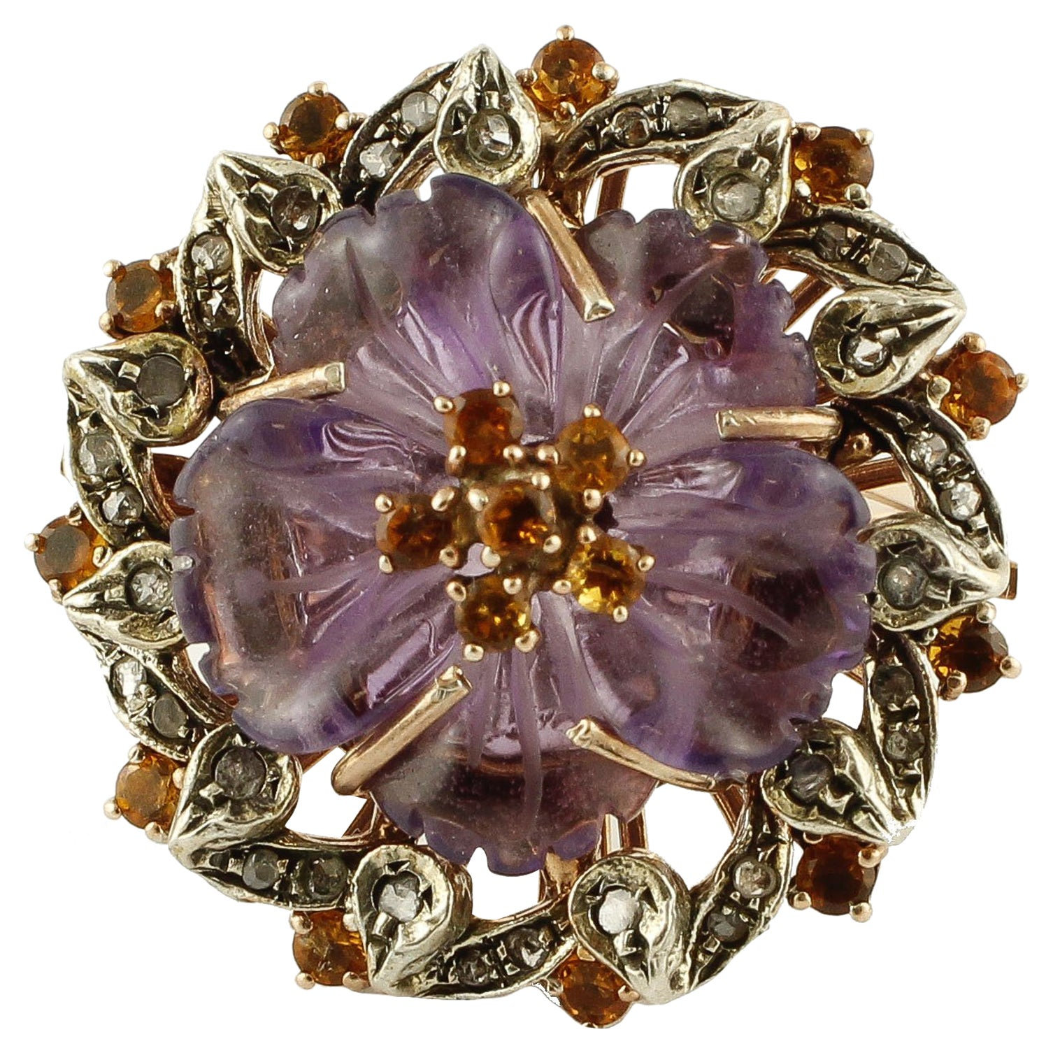 Diamonds Blue Sapphires Amethyst Rose Gold and Silver Cocktail Ring