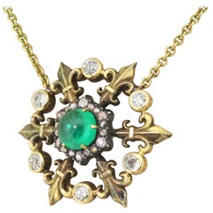 Victorian 1.88 Carat Cabochon Emerald and Diamond Pendant Necklace