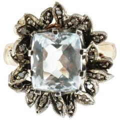3.10 Carat Aquamarine, Diamonds Rose Gold Cocktail Ring