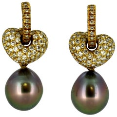Ave, 18 Karat Gold, South Sea Pearl Earrings with Diamonds, 1990s
