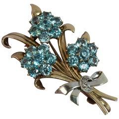 Vintage 9 Carat Rose Gold and Platinum Natural Zircon Floral Spray Brooch