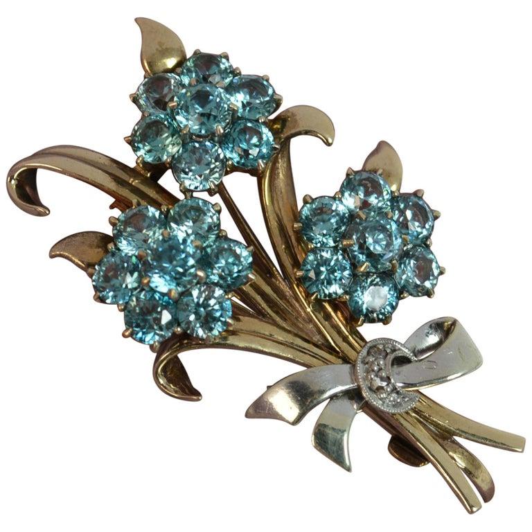 Vintage 9 Carat Rose Gold and Platinum Natural Zircon Floral Spray Brooch For Sale