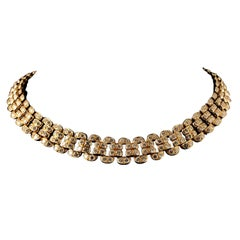 Graff White Round Brilliant Cut Diamond Gold Collar Necklace