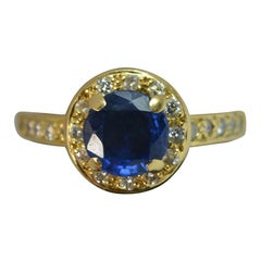 18 Carat Yellow Gold 1.2 Carat Sapphire and Diamond Halo Cluster Engagement Ring