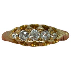 Edwardian 18 Carat Gold and 0.40 Carat Old Cut Diamond Five-Stone Boat Ring