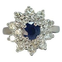 Natural Sapphire and 1.7 Carat Diamond Platinum Cluster Ring