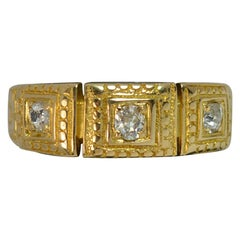 Mid Victorian 18ct Gold Old Cut Diamond Trilogy Stack Ring with Full Engraving