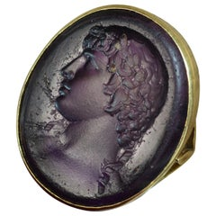 Early Victorian 18 Carat Gold and Purple Glass Intaglio Seal Signet Ring