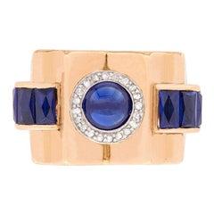 Art Deco Sapphire and Diamond Cluster Ring, circa 1920s