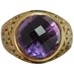 9 Carat Yellow Gold and Amethyst Solitaire Statement Ring