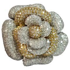 Huge 600+ Diamond 9 Carat White Gold Flower Cluster Cocktail Ring
