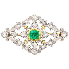 Early Victorian Emerald and Diamond Brooch, circa 1860s