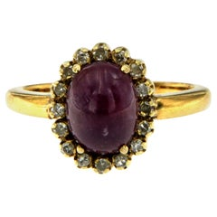 Retro Ruby Diamond Gold Cluster Ring