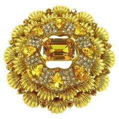Jahan Yellow Sapphires Brilliant Cut Diamonds Dandelion Flower Cocktail Ring