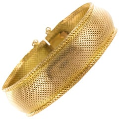 1960s Woven 18 Karat Yellow Gold Bangle Bracelet