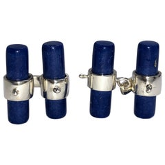 Natural Hand Inlaid Lapis Lazuli Baton Sterling Silver Cufflinks