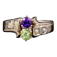 Antique Victorian Amethyst Pearl Peridot Suffragette Ring 18 Carat Gold