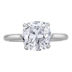 2.32 Carat Cushion Brilliant Cut Diamond Platinum Engagement Ring